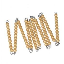 Montessori PREMIUM: Chaine de 100 perles dorées