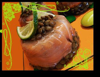 Aspic saumon lentilles