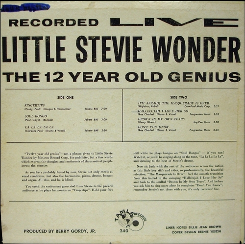 "Little Stevie Wonder : Album "" Recorded Live The 12 Year Old Genius "" Tamla Records TM 240 [ US ]"