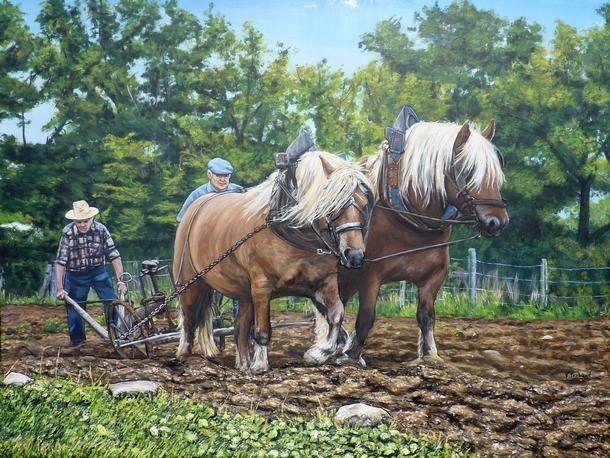 Peinture scène de labour- chevaux de trait moulin vanneau - Acrylique et mortier en relief Virginie TRABAUD Artiste peintre