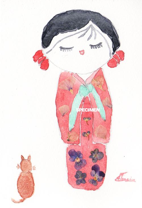 Aquarelle : Poupée kokeshi rouge