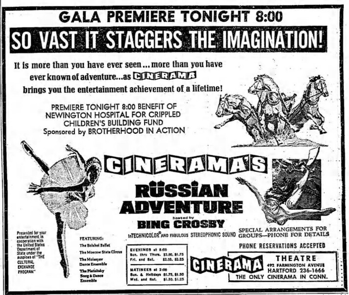 CINERAMA RUSSIAN ADVENTURE BOX OFFICE USA 1966