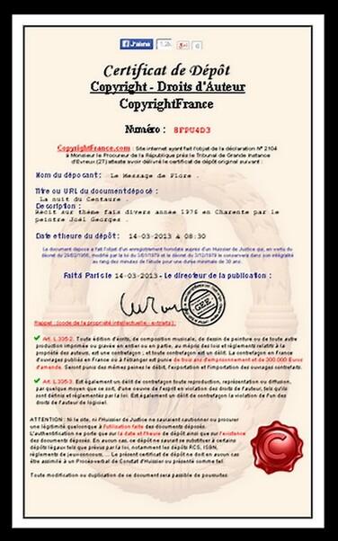 Certificat France Copyright.