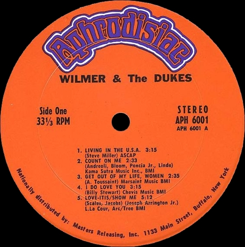 "Wilmer & The Dukes : Album "" Wilmer & The Dukes "" Aphrodisiac Records APH - 6001 [ US ]"