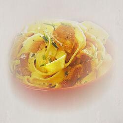 Nouilles fraiches aux lardons  et au saumon fume