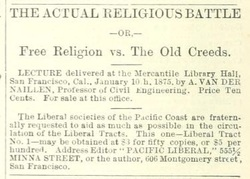 Albert van der Naillen - The Actual Religious Battle (1875)(Pacific Liberal, periodical 1876)