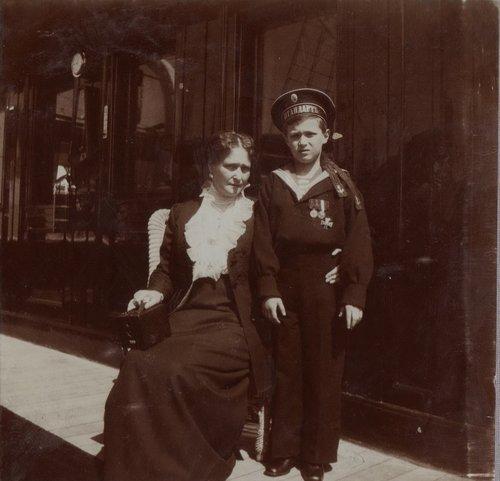 Empress Alexandra Feodorovna and Tsarevich Alexei aboard the Standart: 1912.