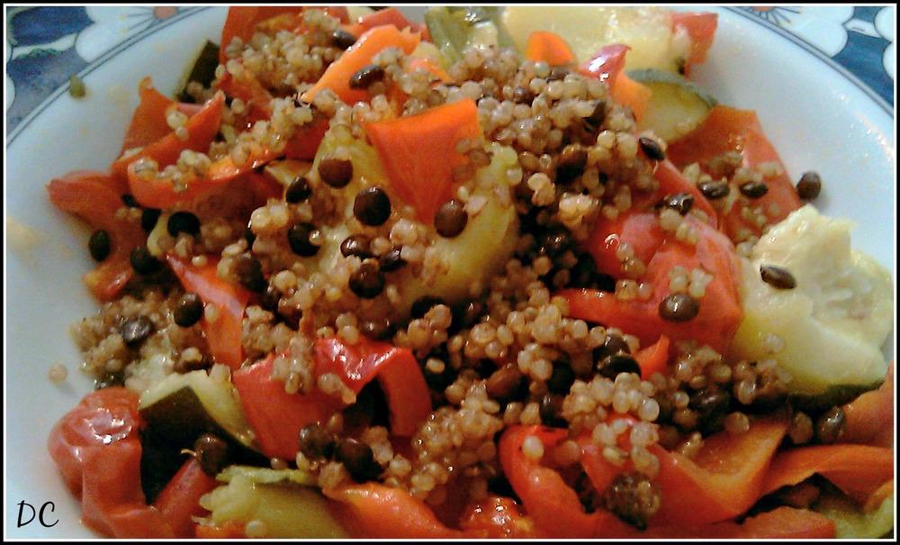 Quinoa, lentilles et légumes d'été ....