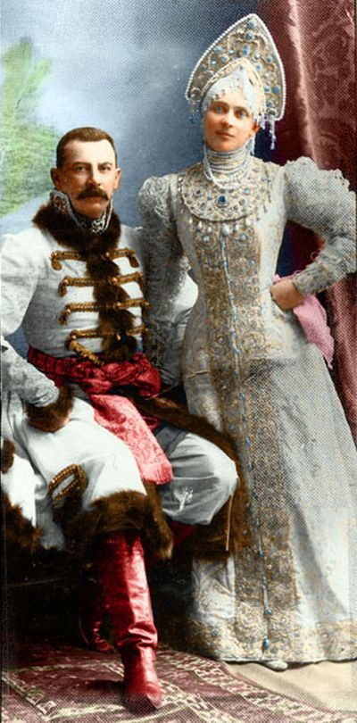 THE BALL OF 1903 ~ Gowns for masquerade ~ Felix and Zenaida Yusupov dressed in 17th century boyar costumes at the Winter Palace in 1903.  Colorized by me Lisotchka aka Lisette la Cousette: