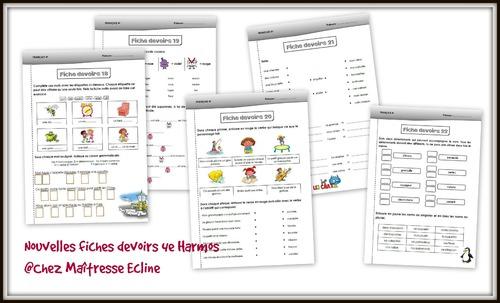 Fiches devoirs de français 4e Harmos - n° 18 à 22