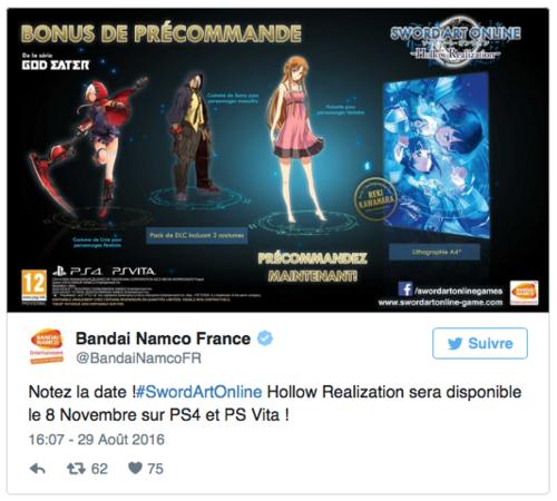 Sword Art Online Hollow Realization: Date de sortie