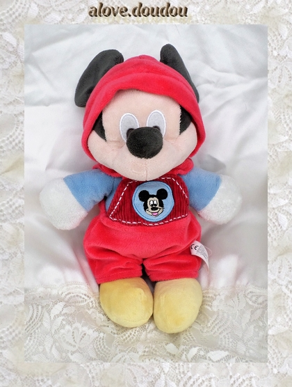 Doudou Peluche Mickey Disney Club Nicotoy Salopette Rouge Capuche 30 Cm