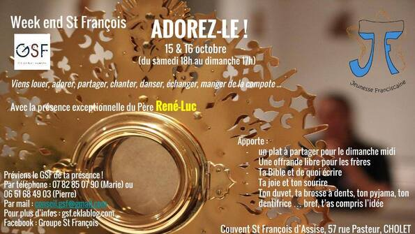 """15 - 16 octobre : """"week-end saint François"""""""