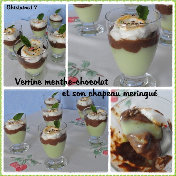 Verrine Menthe-Chocolat et son chapeau meringué