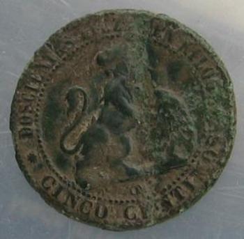 Cinco centimos 1870 revers