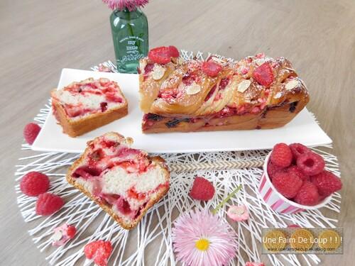 Babka aux framboises & pralines roses