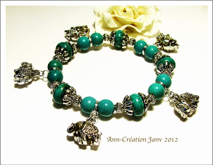 Bracelet Elastique Turquoise Naturelle, Eléphants Métal argenté