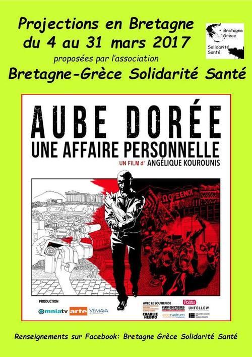 Le film-documentaire  « Aube dorée, une affaire personnelle »  et sa réalisatrice Angélique Kourounis en Finistère du 13 au 18 mars.