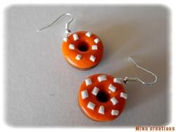 Boucles d'oreilles donuts oranges