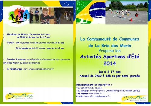 ANIMATIONS SPORTIVES D'ETE 2014 CCBM