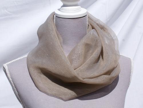 Echarpe tube en polyester taupe rayé d'écru