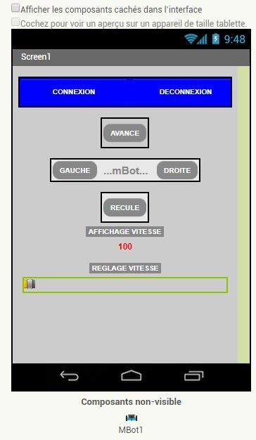 Régler la vitesse du mBot avec un curseur sous App Inventor (extension makeblock 1.9)