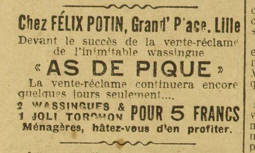 wassingue (une) (Le Grand écho du Nord de la France, 14 février 1932)