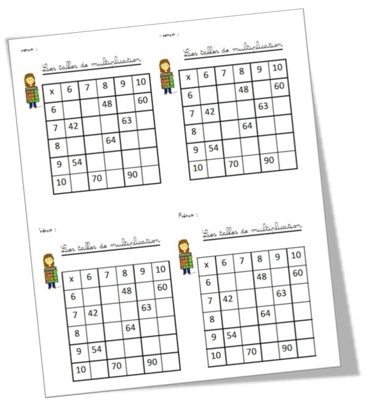 Les tables de multiplication for Les tables de multiplication en ligne