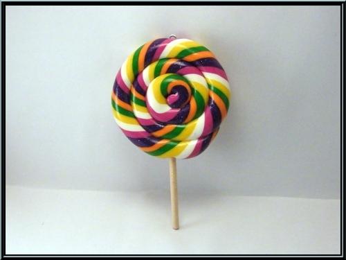 Pendentif sucette lollipop ên pâte polymère Fimo
