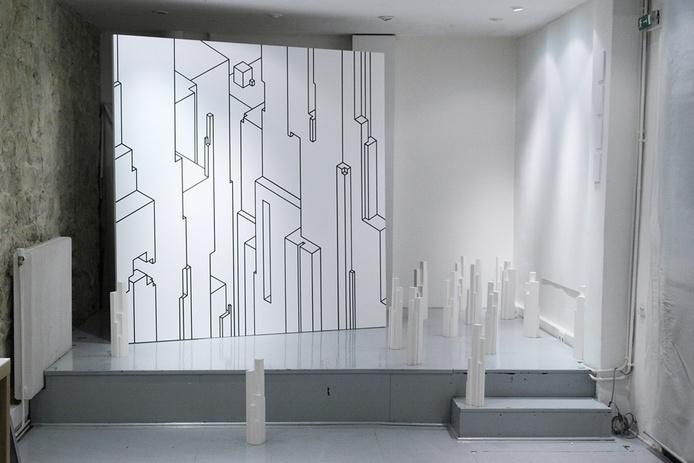 installation, sculpture, moulage, plâtre, monolithes, échelle, espace