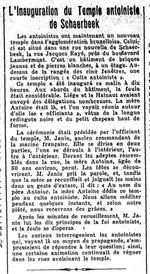 Inauguration d'un temple antoiniste à Schaerbeek (Le Soir, 3 août 1925)(Belgicapress)