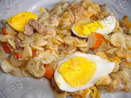 Salade  de pâtes au thon et macédoine et melon
