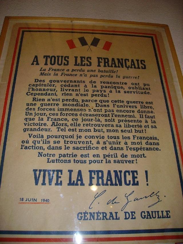 Musée de la guerre, declaration du 18 juin 1940