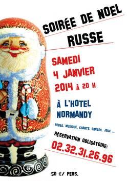 SAMEDI 4 JANVIER 2014 - SOIREE RUSSE à l'Hôtel de Normandie