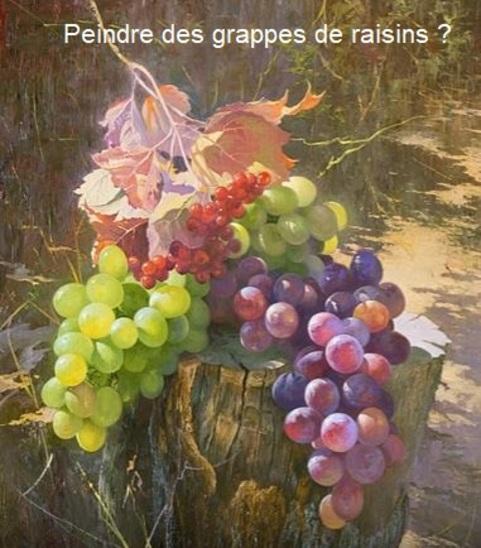 Dessin et peinture - vidéo 3073 : Comment peindre les raisins dans une nature morte ? ( tutos en russe en 5 vidéos) - acrylique ou huile.