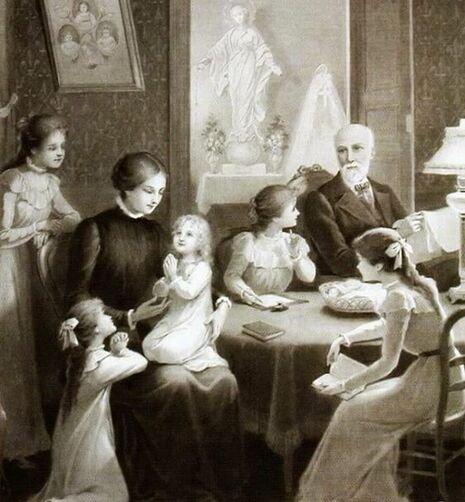 Saints Louis and Zelie Martin and their 5 daughters, including St. Therese