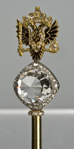 The part of the scepter of Ekaterina II Russian Empress. The head of the scepter is crowned by one of the biggest diamonds in the world, Orlov that was presented to Ekaterina by her favorite Grigori Orlov