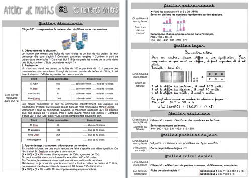 Atelier de maths : séquence 1