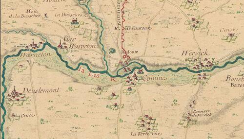 Comines - Cartes des environs de plusieurs places entre la Mer et l'Escault, 1700 (gallica)t