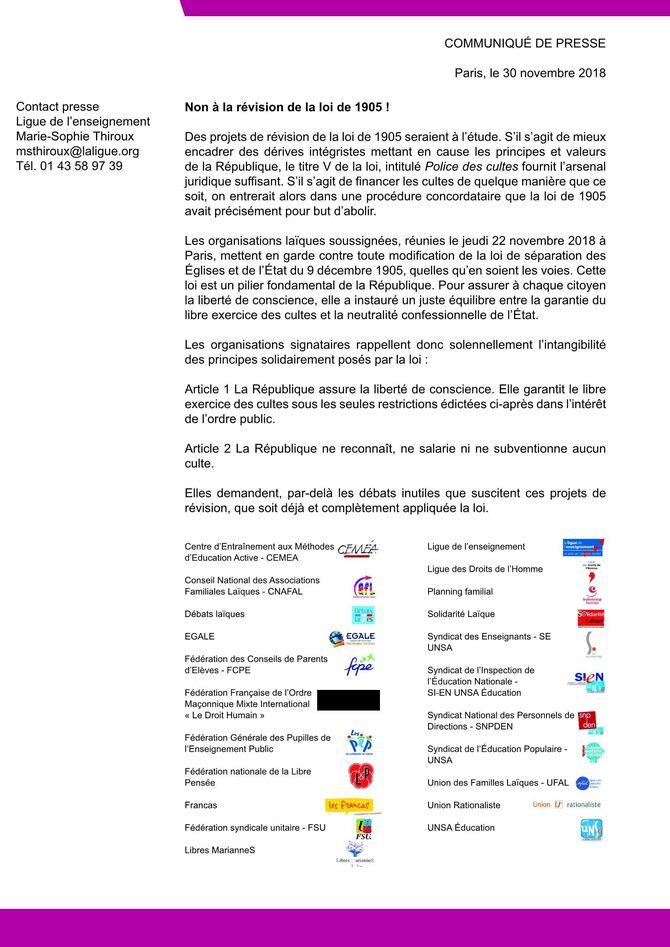 Non à la révision de la loi de 1905- RASSEMBLEMENT 18h00 devant la préfecture- délégation reçue à 16h00