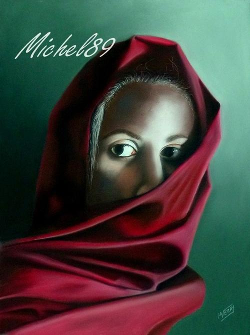 Femme au foulard rouge
