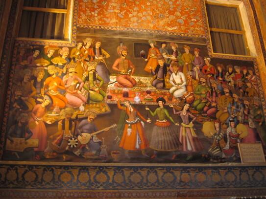 Fresque de la salle des banquets du palais Chehel Sotoun d'Ispahan