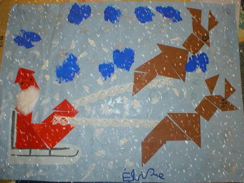 Noël: tangram, rennes, fabriquer père Noel