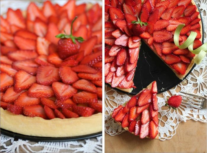 Tarte à la rhubarbe, amande, et fraises {& Pâte brisée}