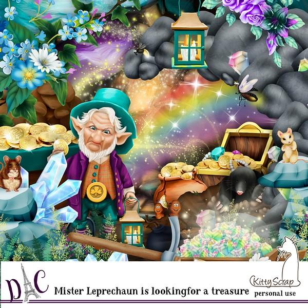 kit mister leprechaune is looking fot the treasure de kittyscrap