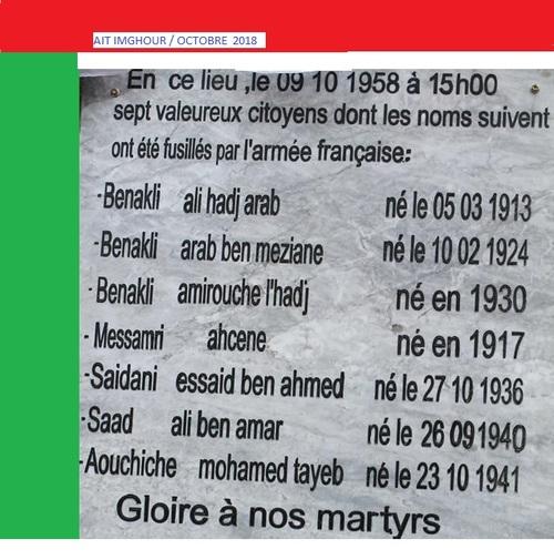 Les fusillés d'Aït-Imghour / 9 oct 1958.