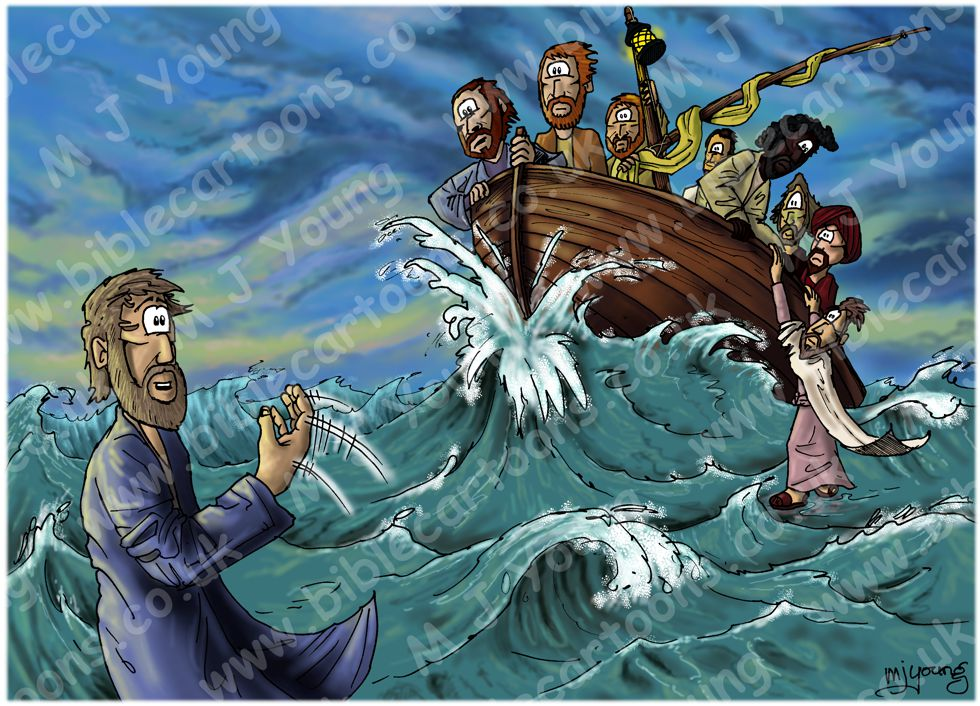 Matthew 14 - Jesus walks on water - Scene 03 - Peter's faith