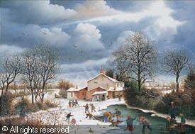 toussaint-raphael-1937-france-village-anime-en-hiver-1987-1
