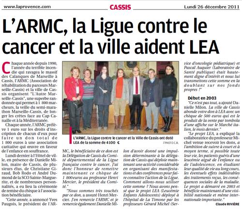 Cassis : L'ARMC, la Ligue contre le cancer et la ville aident LEA