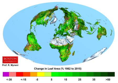 L'augmentation de la couverture végétale pour une surface donnée est montrée sur ce schéma. On voit qu'elle croit presque partout depuis une trentaine d'années.